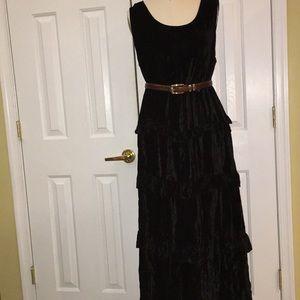 CAROL LITTLE EUC BLACK VELOUR RUFFLE LAYERED DRESS
